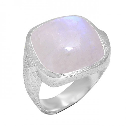 Cabochon Square Shape Rainbow Moonstone 925 Sterling Silver Band Ring