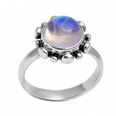 Cabochon Round Shape Rainbow Moonstone 925 Sterling Silver Black Oxidized Ring