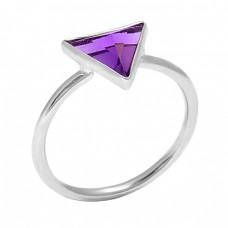 Triangle Shape Amethyst Gemstone 925 Sterling Silver Handmade Rings
