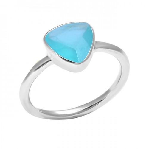 925 Sterling Silver Aqua Chalcedony Gemstone Handmade Designer Ring Jewelry