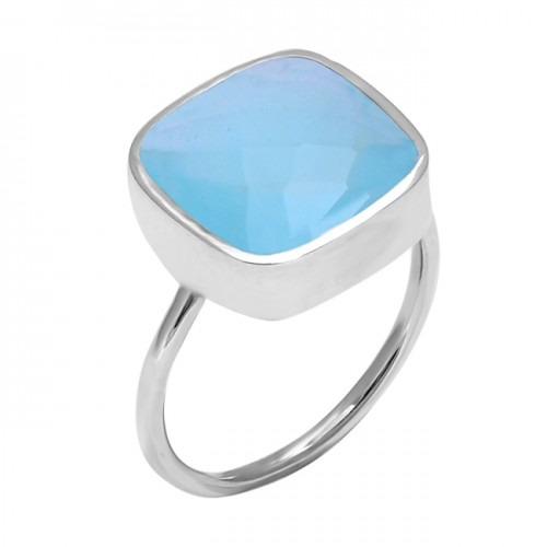 Faceted Cushion Shape Chalcedony Gemstone 925 Sterling Silver Ring