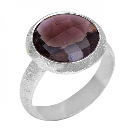 925 Sterling Silver Round Shape Smoky Quartz Gemstone Handcrafted Designer Ring