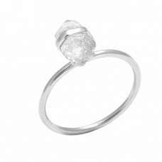 Step Cut Pencil Shape Crystal Gemstone 925 Sterling Silver Handmade Ring