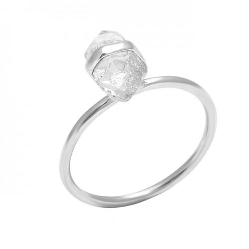 Step Cut Pencil Shape Crystal Gemstone 925 Sterling Silver Handmade Ring