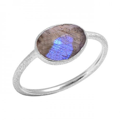 Oval Shape Labradorite Gemstone Handmade 925 Sterling Silver Ring