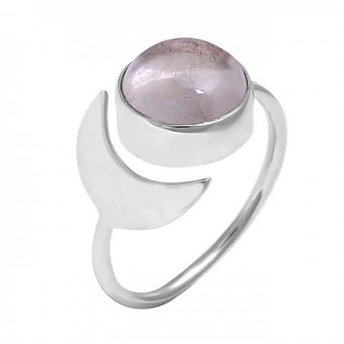 Rose Quartz Round Cabochon Gemstone 925 Sterling Silver Ring Jewelry
