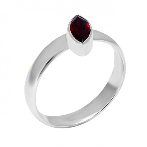 Garnet Marquise Shape Gemstone 925 Sterling Silver Handmade Unique Ring