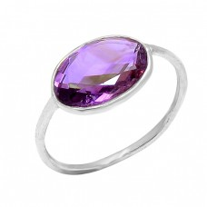 Fashionable Handmade Designer Amethyst Oval Gemstone 925 Silver Ring
