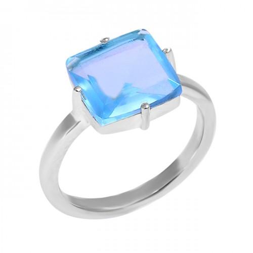 925 Sterling Silver Square Shape Blue Topaz Gemstone Handmad Ring