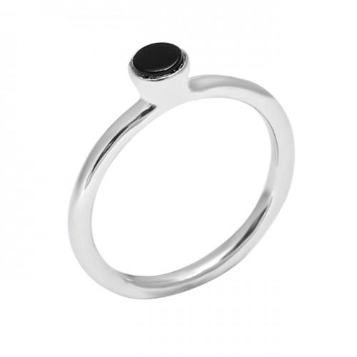 925 Sterling Silver Round Shape Black Onyx Gemstone Handmade Ring Jewelry
