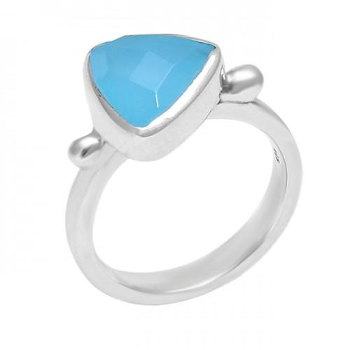 925 Sterling Silver Handmade Aqua Chalcedony Gemstone Designer Ring