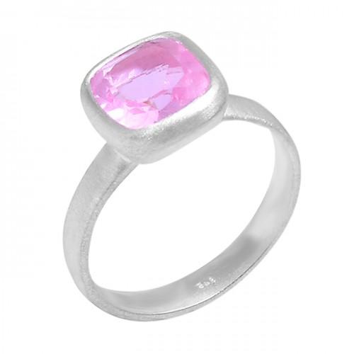 Pink Quartz Cushion Shape Gemstone 925 Sterling Silver Designer Ring