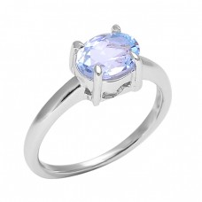 Faceted Oval Shape Blue Topaz Gemstone 925 Sterling Silver Ring Jewelry