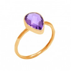 Pear Shape Amethyst Gesmtone 925 Sterling Silver Handmade Ring Jewelry
