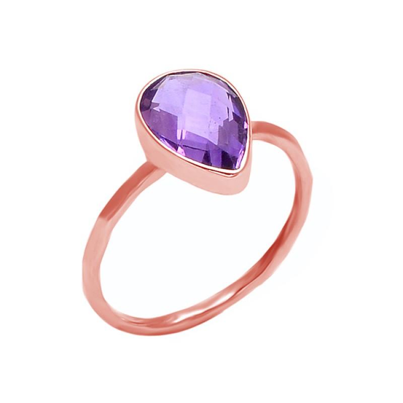 Pear Shape Amethyst Gesmtone 925 Sterling Silver Handmade Ring Jewelry