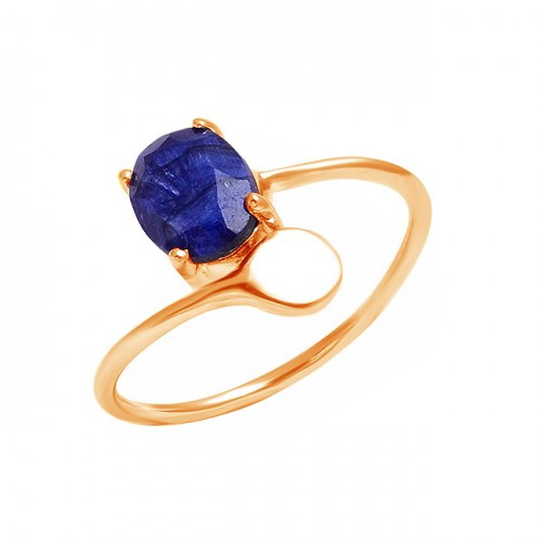 Faceted Oval Shape Sapphire Gemstone 925 Sterling Silver Band Style Ring Jewelry