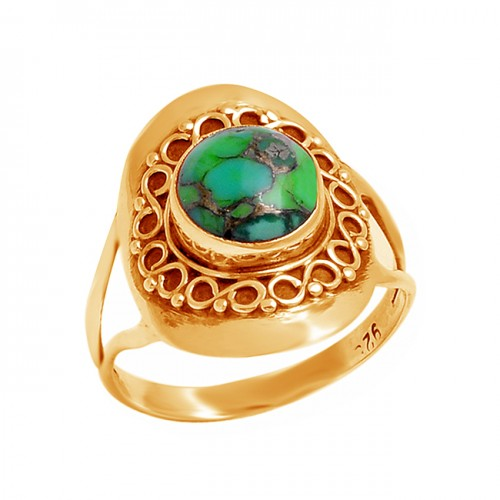 925 Sterling Silver Cabochon Round Green Copper Turquoise Gemstone Designer Ring