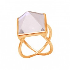 Triangle Shape Crystal Quartz Gemstone 925 Sterling Silver Ring Jewelry