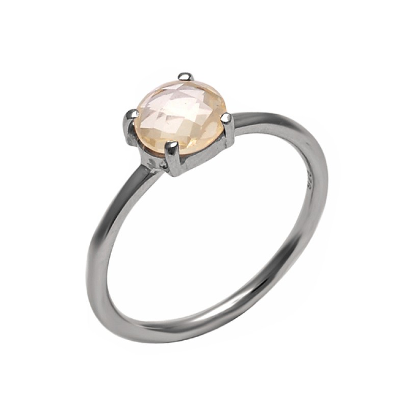 Faceted Round Shape Citrine Gemstone 925 Sterling Silver Prong Setting Ring