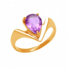 925 Sterling Silver Pear Shape Amethyst Gemstone 925 Silver Band Designer Ring