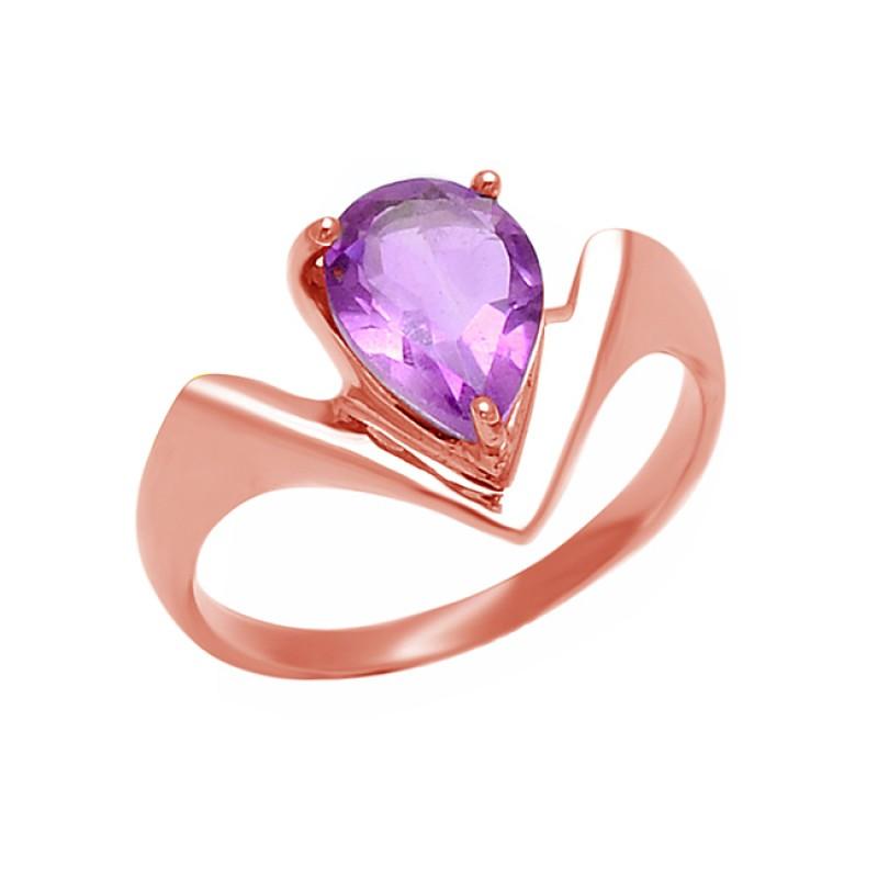 925 Sterling Silver Pear Shape Amethyst Gemstone 925 Silver Band Designer Ring