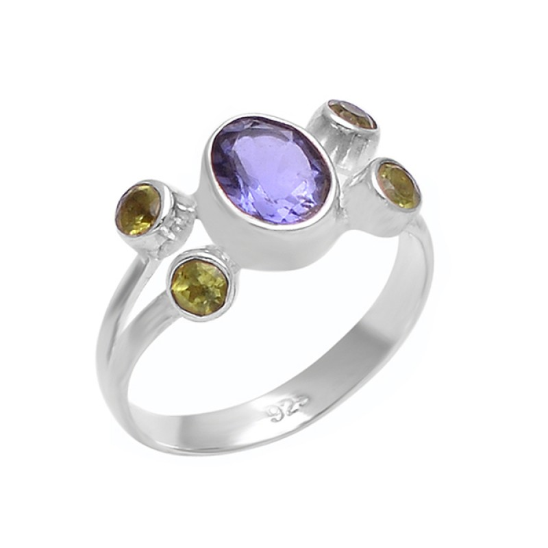 Oval Round Shape Amethyst Peridot Gemstone 925 Sterling Silver Ring Jewelry