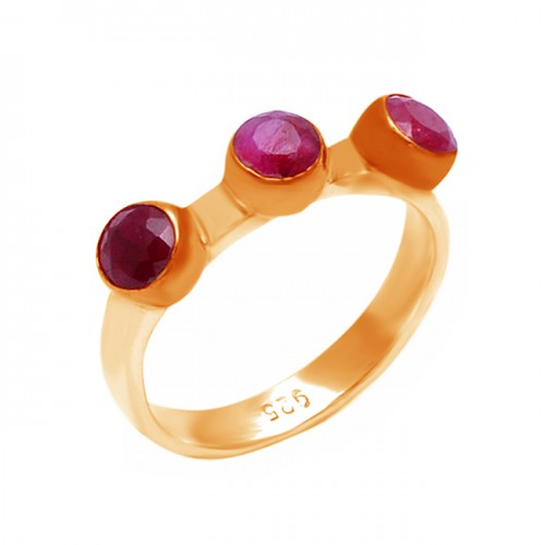 925 Sterling Silver Round Shape Ruby Gemstone Rose Gold Plated Ring Jewelry