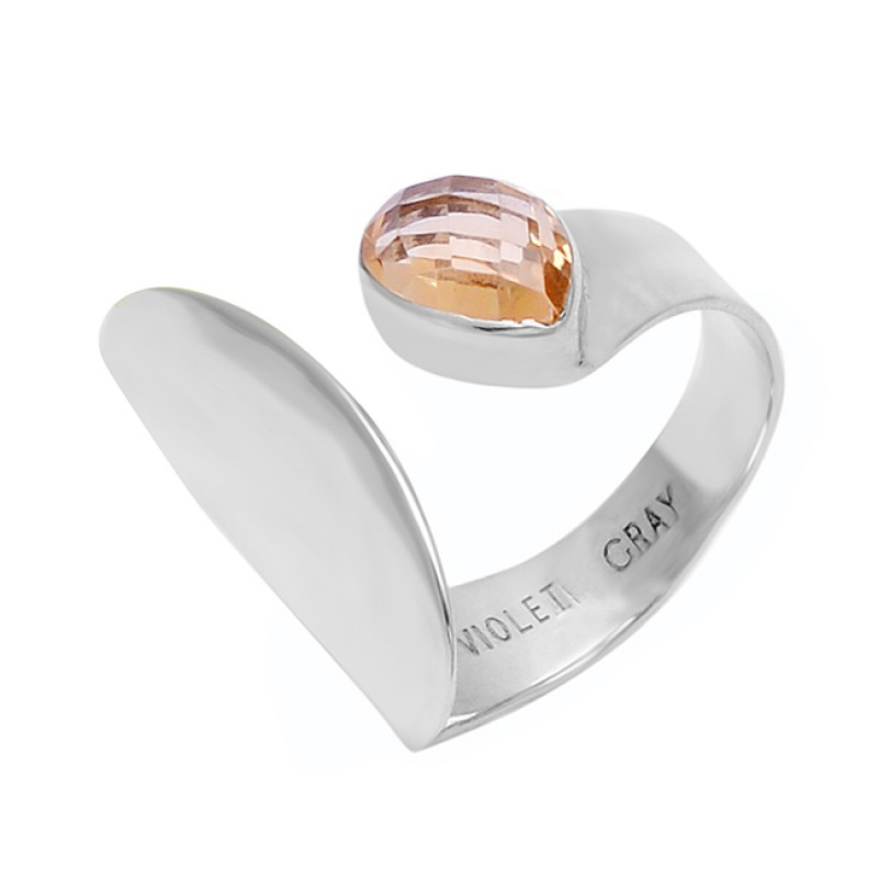 Faceted Pear Shape Citrine Gemstone 925 Sterling Silver Designer Ring Jewelry