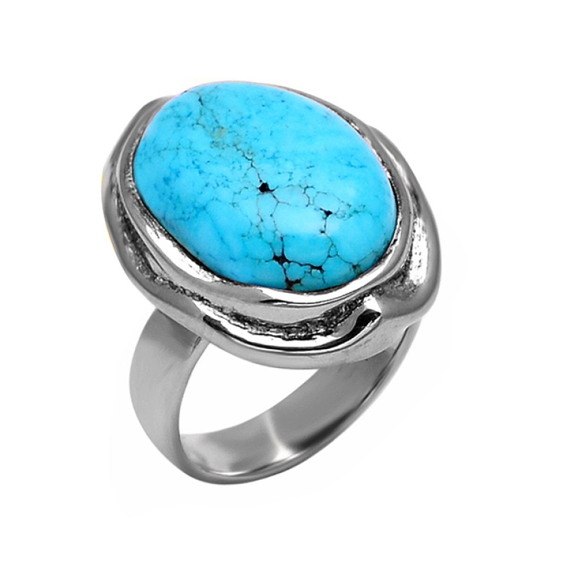 Oval Shape Turquoise Gemstone 925 Sterling Silver Designer Ring Jewelry