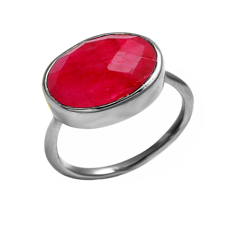 Oval Shape Ruby Gemstone 925 Sterling Silver Handmade Designer Ring