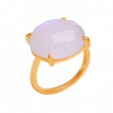 Round Shape Rainbow Moonstone 925 Sterling Silver Prong Setting Ring Jewelry