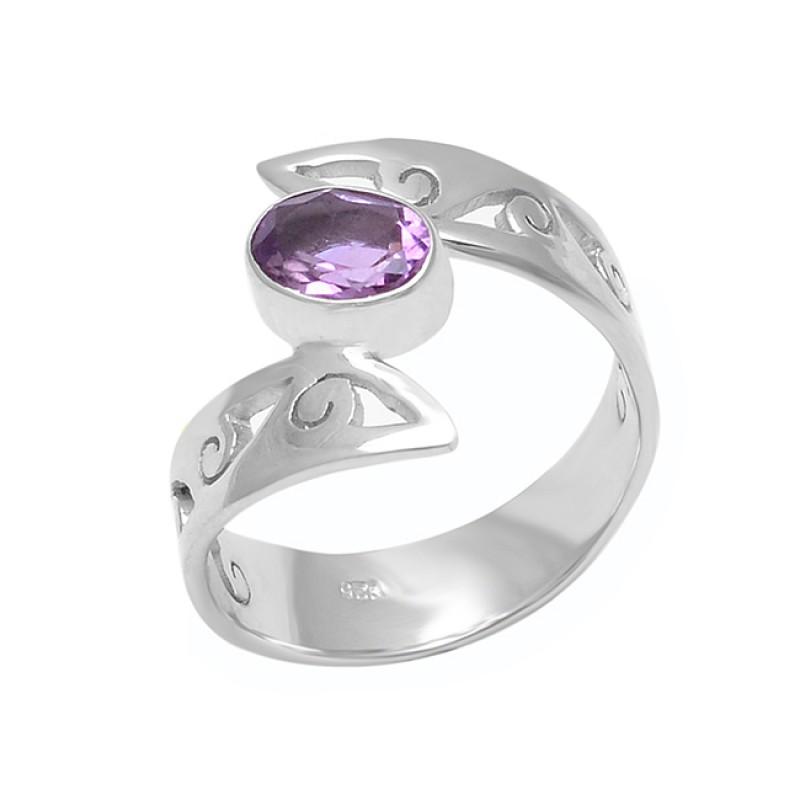 Amethyst Oval Shape Gemstone 925 Sterling Silver Handcrafted Designer Ring