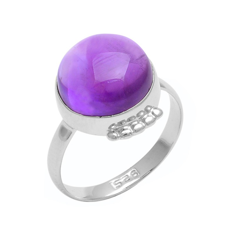 Round Cabochon Amethyst Gemstone 925 Sterling Silver Handmade Designer Ring