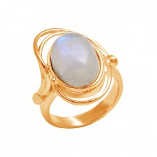 925 Sterling Silver Oval Shape Rainbow Moonstone Stylish Designer Ring Jewelry