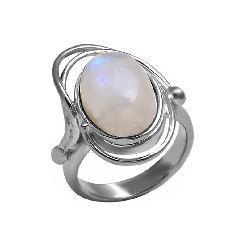 925 Sterling Silver Oval Shape Rainbow Moonstone Stylish Designer Ring Jewelry