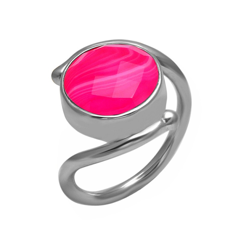 925 Sterling Silver Round Shape Pink Banded Agate Gemstone Handmade Band Ring