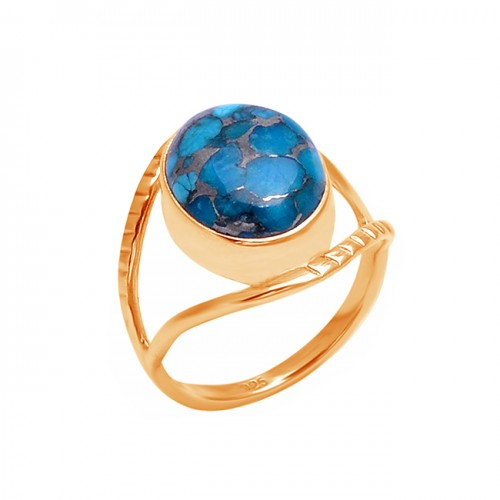 Oval Shape Blue Copper Turquoise Gemstone 925 Sterling Silver Ring Jewelry