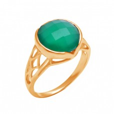 925 Sterling Silver Round Shape Green Onyx Gemstone Filigree Style Designer Ring