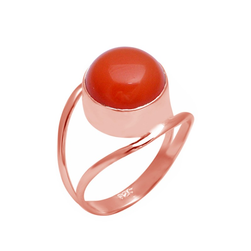 Round Cabochon Peach Moonstone 925 Sterling Silver Handmade Designer Ring