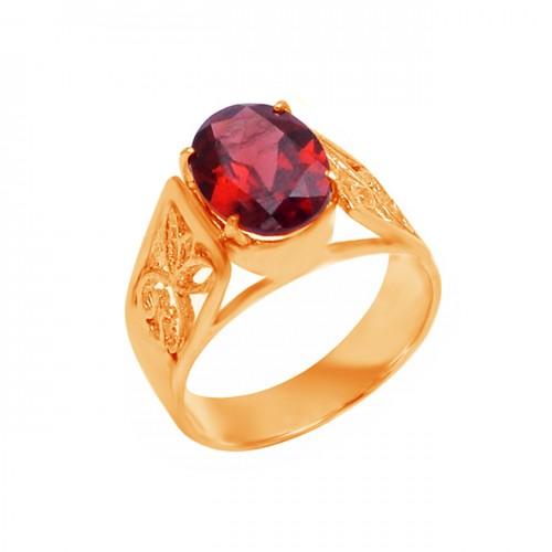 925 Sterling Silver Oval Shape Garnet Gemstone Filigree Style Designer Ring