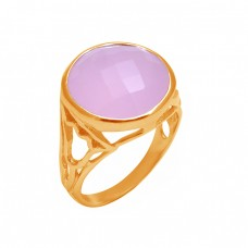 Round Shape Rose Chalcedony Gemstone 925 Sterling Silver Designer Ring