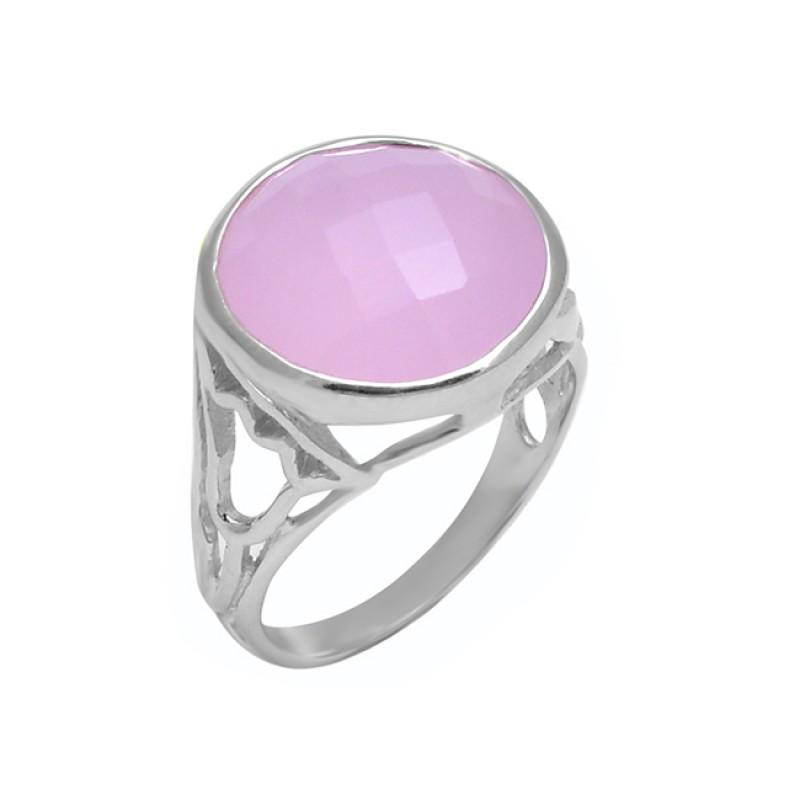 Round Shape Rose Chalcedony Gemstone 925 Sterling Silver Designer Ring