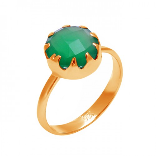Faceted Round Shape Green Onyx Gemstone 925 Sterling Silver Prong Setting Ring
