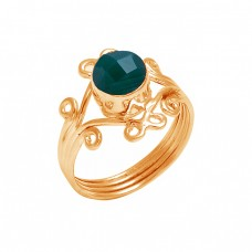 Emerald Round shape Gemstone 925 Sterling Silver Fashionable Designer Ring
