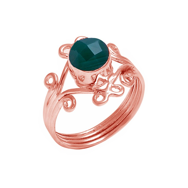 Emerald Round shape Gemstone 925 Sterling Silver Fashionable Designer Ring