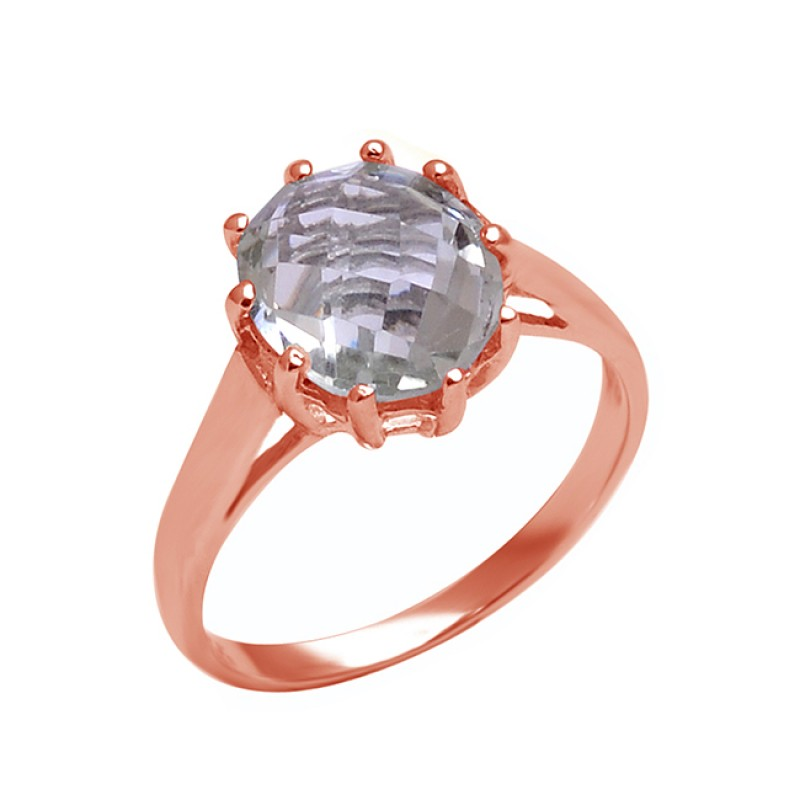 Faceted Oval Shape Amethyst Gemstone 925 Sterling Silver Prong Setting Ring