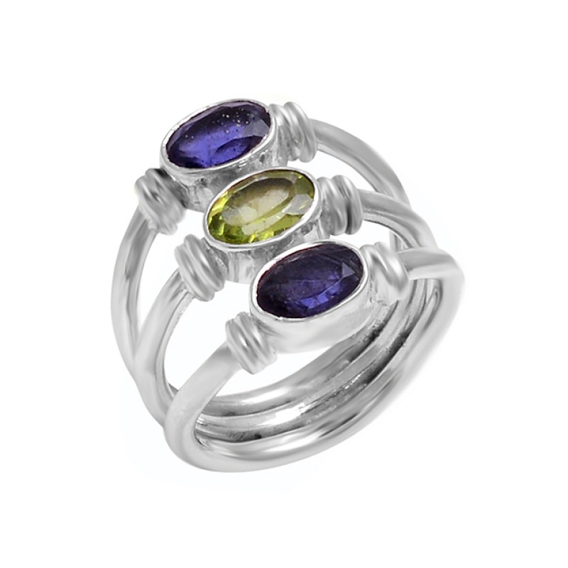 925 Sterling Silver Oval Shape Peridot Iolite Gemstone Handmade Ring Jewelry
