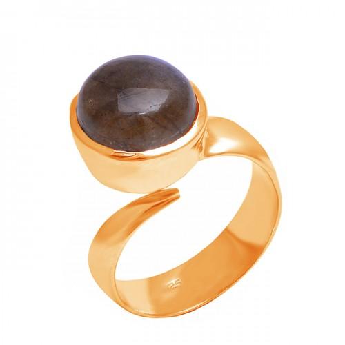 Cabochon Round Shape Labrdorite Gemstone 925 Sterling Silver Band Stylish Ring