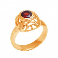 Filigree Style Round Shape Garnet Gemstone 925 Sterling Silver Ring Jewelry