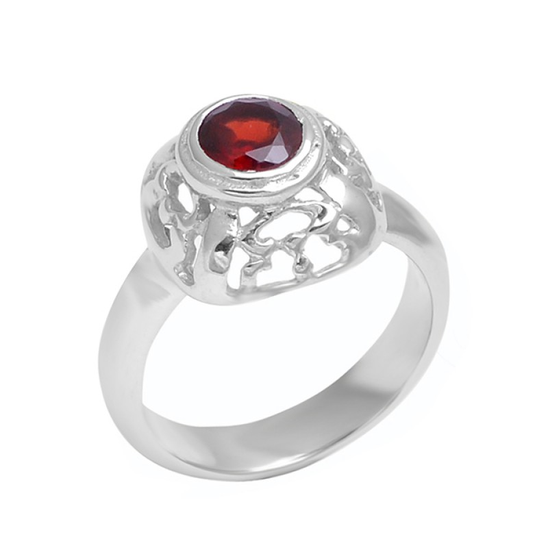 Filigree Style Round Shape Garnet Gemstone 925 Sterling Silver Ring Jewelry